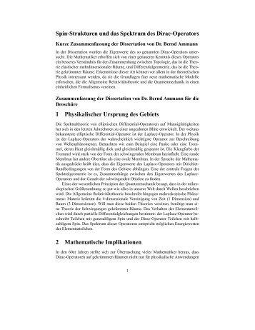 Spin-Strukturen und das Spektrum des Dirac ... - Mathematik