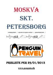 Prisliste til Skt. Petersborg - Penguin Travel