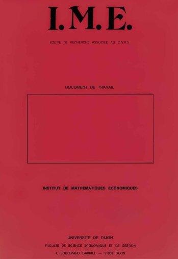 document de travail institut de mathematiques economiques ... - Lara