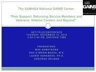 Peer Support, Returning Service Members and Veterans