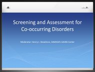 Screening and Assessment for Co-occurring Disorders - SAMHSA'S ...
