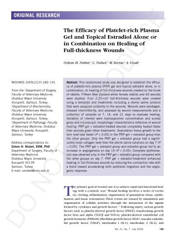 The Efficacy of Platelet-rich Plasma Gel and Topical ... - Wounds