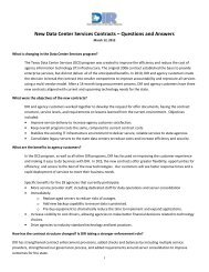 New Data Center Services Contracts - Texas Department of ...