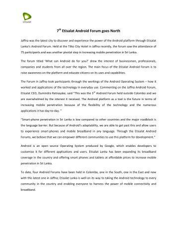 Etisalat Jaffna Android Forum