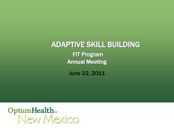 ADAPTIVE SKILL BUILDING - New Mexico Department of Health