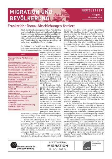 Ausgabe September 2010 als pdf - Migration & Bevölkerung