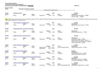 Lista de Oferta - Faculdade de Ciências da Saúde / UnB