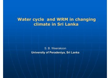 Water cycle and WRM in changing climate in Sri Lanka
