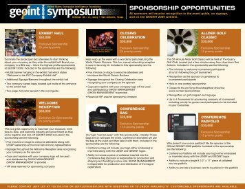 SPONSORSHIP OPPORTUNITIES - GEOINT 2009 Symposium