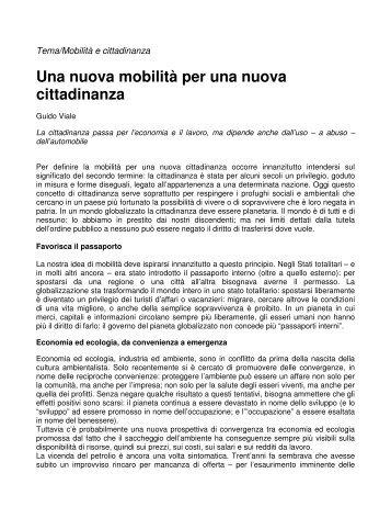 Una nuova mobilità per una nuova cittadinanza - Il Portale Italiano ...