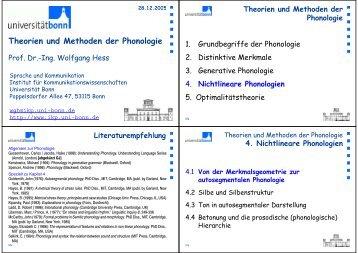Theorien und Methoden der Phonologie - Arbeitsbereich Sprache ...