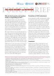 UNAIDS Policy Brief : HIV, Food Security and Nutrition