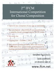 2nd IFCM International Competition for Choral ... - Chorus America