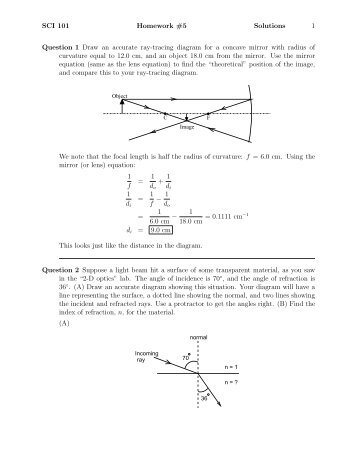 SCI 101 Homework #5 Solutions 1 Question 1 Draw an accurate ray ...