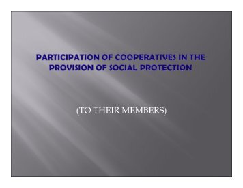 Participation of Cooperatives in the Provision of Social Protection