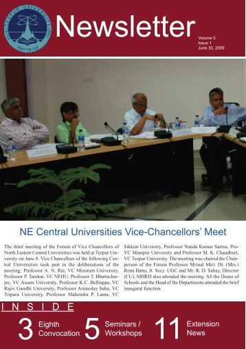 Newsletter Volume 5 Issue 1 - Tezpur University
