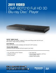 2011 VIDEO DMP-BDT210 Full HD 3D Blu-ray Disc ... - Panasonic