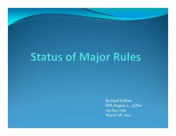 Status of Major Rules - MARAMA