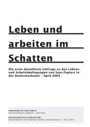 und Arbeitsbedingungen von Sans-Papiers in der Deutschschweiz