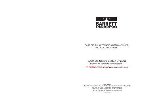 barrett 911 automatic antenna tuner installation manual