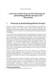 Mentoring als gleichstellungspolitische Strategie in der ...
