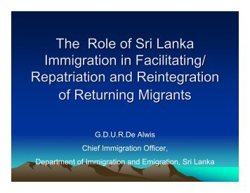 The Role of Sri Lanka Immigration in Facilitating ... - Bali Process