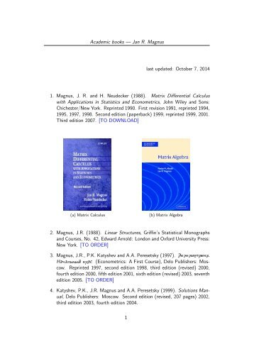 Academic books — Jan R. Magnus last updated: September 1, 2013 ...