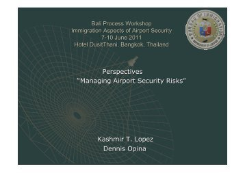 "Perspectives ""Managing Airport Security Risks ... - Bali Process"