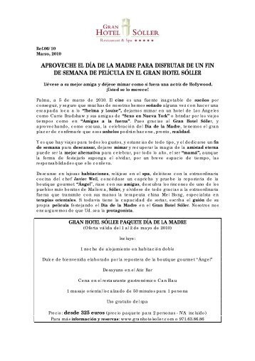 APROVECHE EL DÍA DE LA MADRE PARA ... - Gran Hotel Sóller