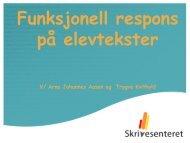 Funksjonell respons på elevtekster - Lesesenteret