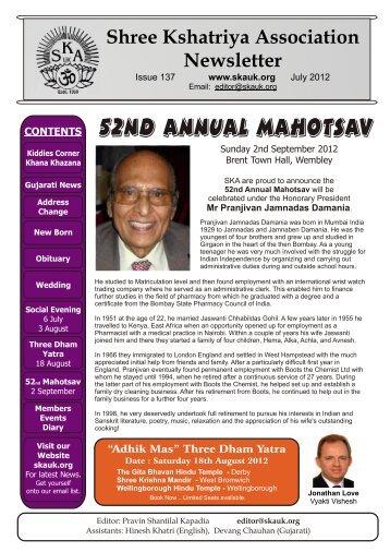 SKA News 137a.cdr - Shree Kshatriya Association UK