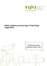 NSOs politiske prioriteringer til Stortingsvalget 2013 - Norsk ...