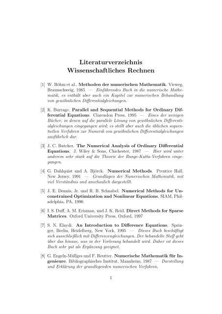 Literaturverzeichnis Wissenschaftliches Rechnen - Institut für ...