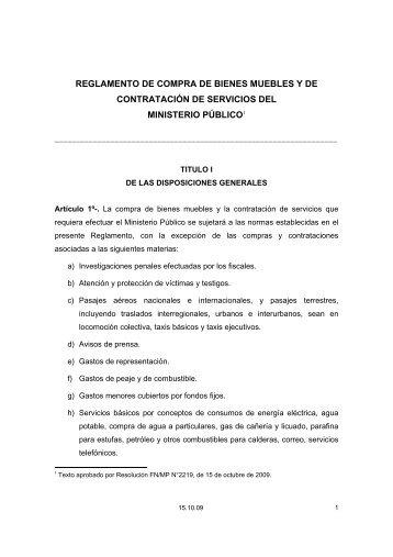 REGLAMENTO DE COMPRA DE BIENES ... - Ministerio Público