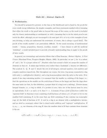 Abstract Algebra II (Galois theory)