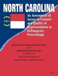 North Carolina: An Assessment of Access to Counsel and Quality of