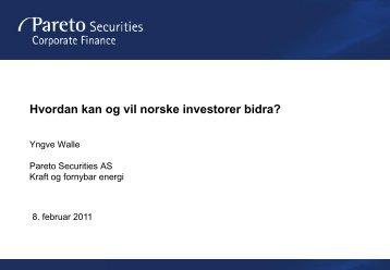 Hvordan kan og vil norske investorer bidra? - Energi Norge