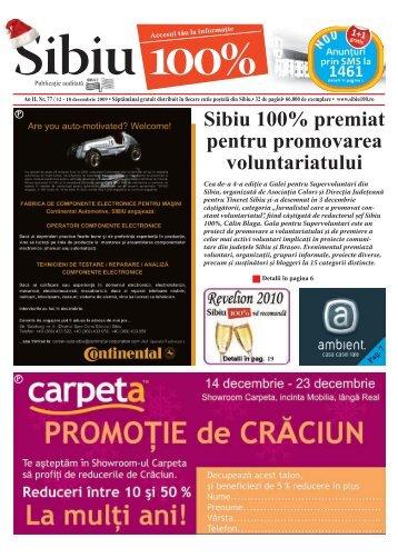 Sibiu 100% premiat pentru promovarea voluntariatului