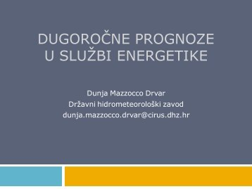 Dugoročne prognoze u službi energetike (Dunja Mazzocco Drvar ...