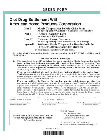Official Notice of Final Judicial Approval - AHP Diet Drug Settlement