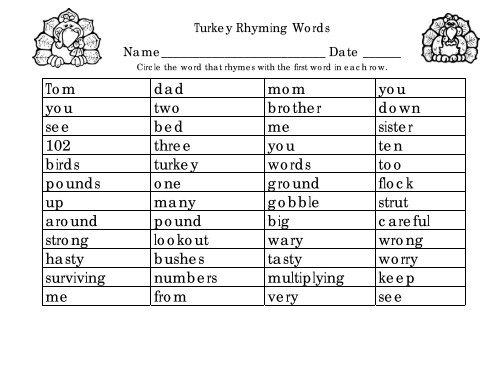 I am a Turkey rhyming words work page and key ... - Wise Owl ...