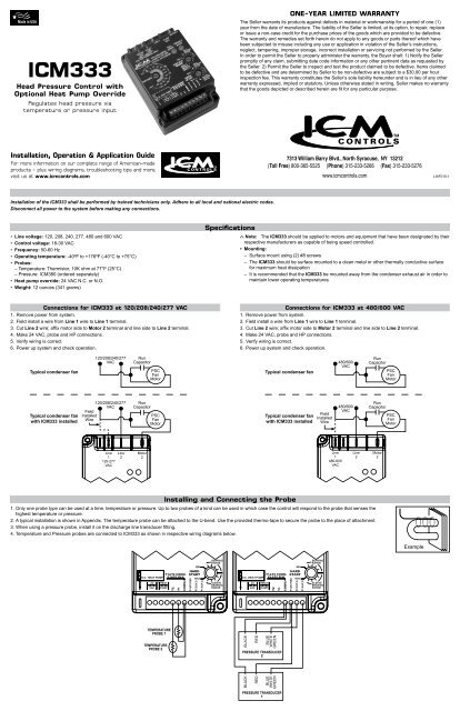 ICM333 - ICM Controls on