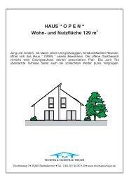 """HAUS """" O P E N """" Wohn- und Nutzfläche 129 m - TMT Massivbau"""