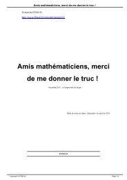Amis mathématiciens, merci de me donner le truc ! - FFMC 43