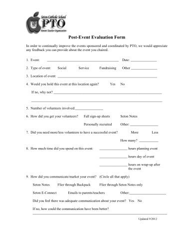PTO Post Event Evaluation Form (pdf)   Seton Catholic School