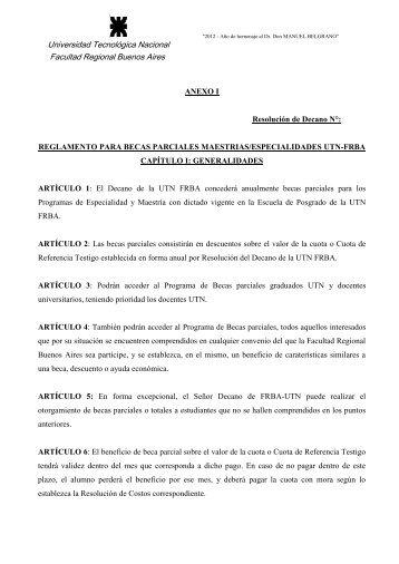 Reglamento para Becas Parciales UTN.pdf - Escuela de Posgrado ...