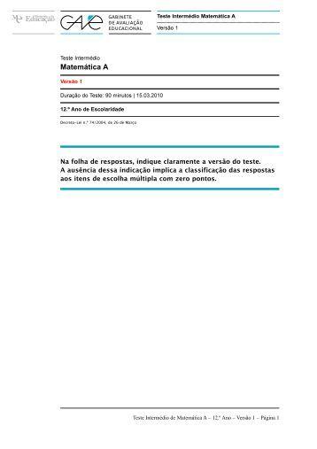 Teste Intermédio de Matemática A 12.º ano – março ... - Escola Virtual
