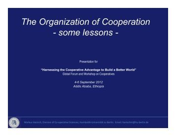 The Organization of Cooperation - Division for Social Policy and ...