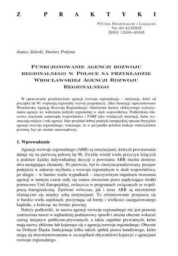 Funkcjonowanie agencji rozwoju regionalnego w Polsce na ...