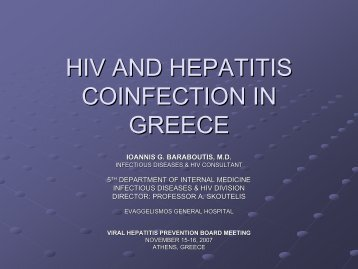 HiV and Hepatitis coinfection in Greece - Viral Hepatitis Prevention ...